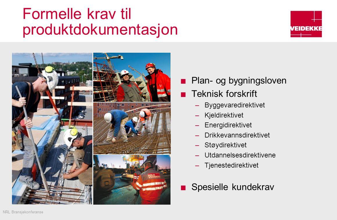 Formelle krav til produktdokumentasjon Plan- og bygningsloven Teknisk forskrift –Byggevaredirektivet –Kjeldirektivet –Energidirektivet –Drikkevannsdirektivet –Støydirektivet –Utdannelsesdirektivene –Tjenestedirektivet Spesielle kundekrav NRL Bransjekonferanse