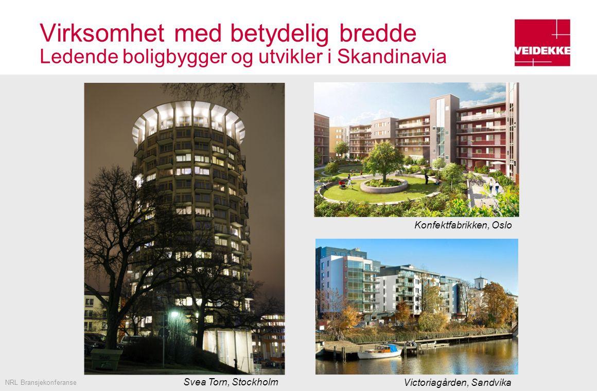 Virksomhet med betydelig bredde Ledende boligbygger og utvikler i Skandinavia NRL Bransjekonferanse Konfektfabrikken, Oslo Victoriagården, Sandvika Svea Torn, Stockholm