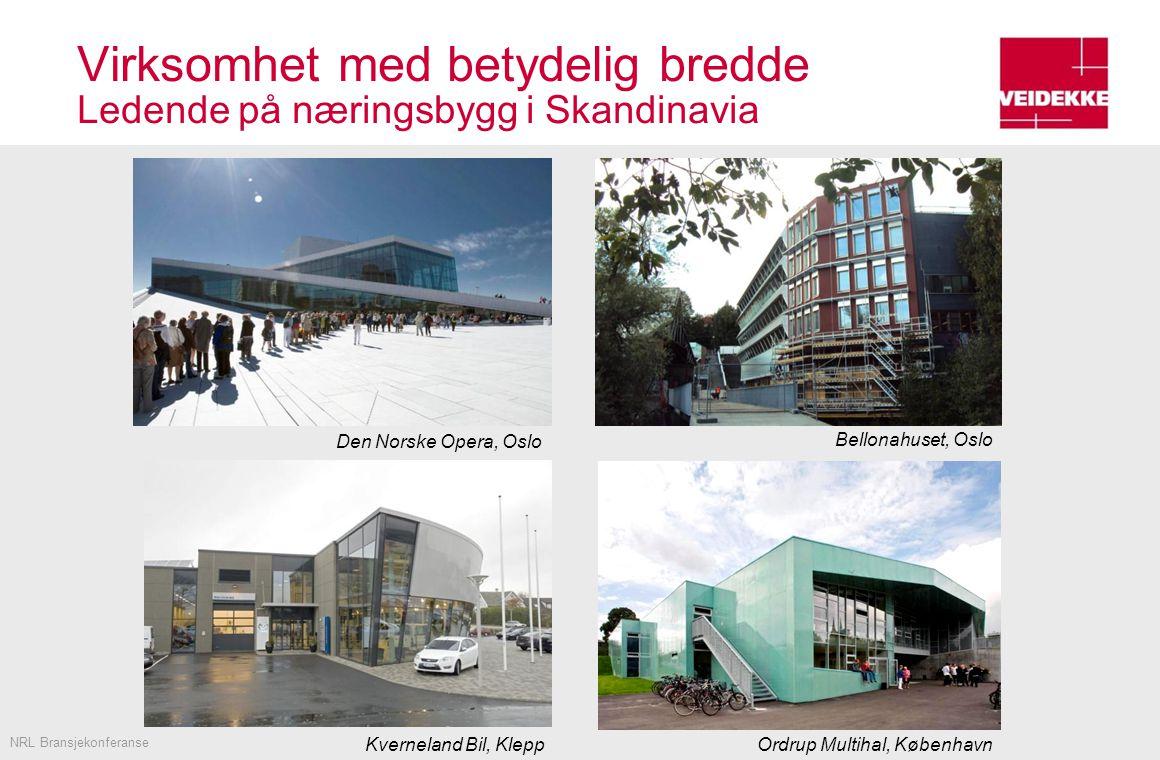 Virksomhet med betydelig bredde Ledende på næringsbygg i Skandinavia Oslo Atrium Foto: Statsbygg NRL Bransjekonferanse Kverneland Bil, Klepp Bellonahuset, Oslo Den Norske Opera, Oslo Ordrup Multihal, København