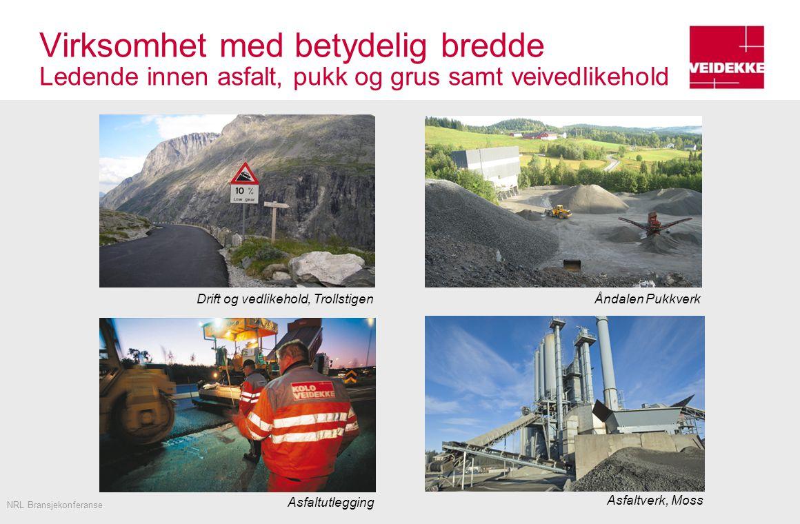 Virksomhet med betydelig bredde Ledende innen asfalt, pukk og grus samt veivedlikehold NRL Bransjekonferanse Asfaltverk, Moss Asfaltutlegging Åndalen PukkverkDrift og vedlikehold, Trollstigen