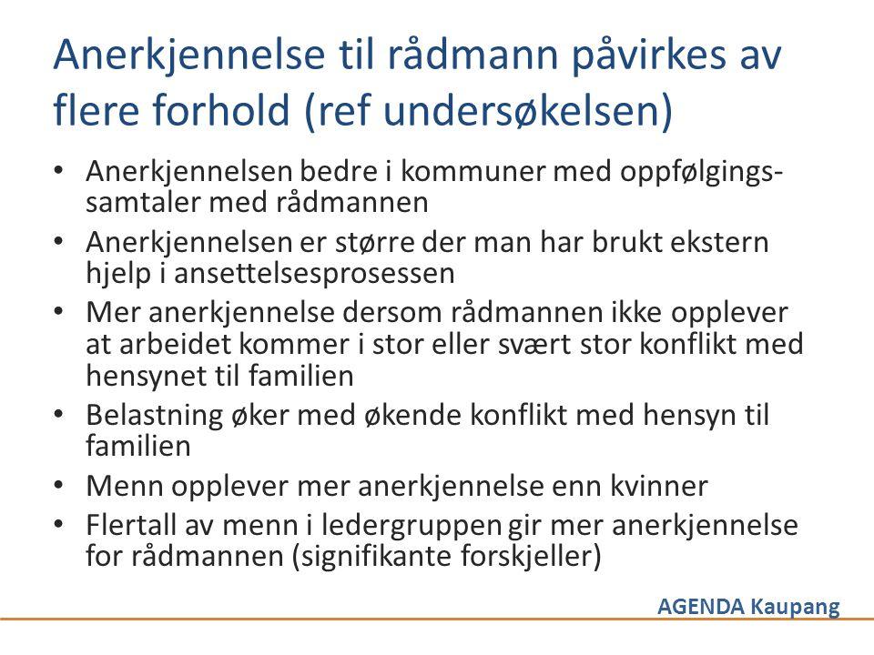 AGENDA Kaupang Anerkjennelse til rådmann påvirkes av flere forhold (ref undersøkelsen) • Anerkjennelsen bedre i kommuner med oppfølgings- samtaler med