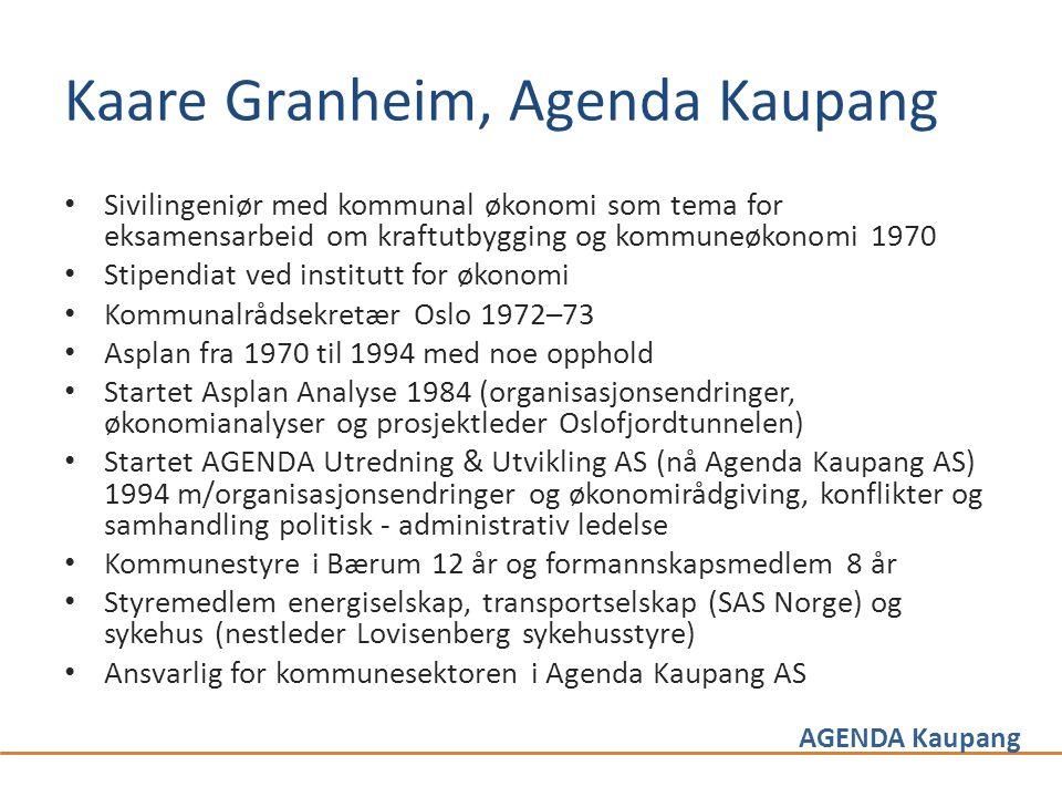 AGENDA Kaupang Kaare Granheim, Agenda Kaupang • Sivilingeniør med kommunal økonomi som tema for eksamensarbeid om kraftutbygging og kommuneøkonomi 197