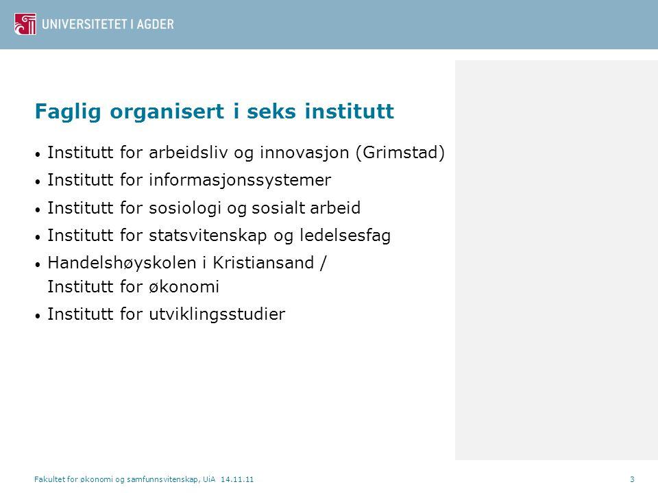 Faglig organisert i seks institutt • Institutt for arbeidsliv og innovasjon (Grimstad) • Institutt for informasjonssystemer • Institutt for sosiologi