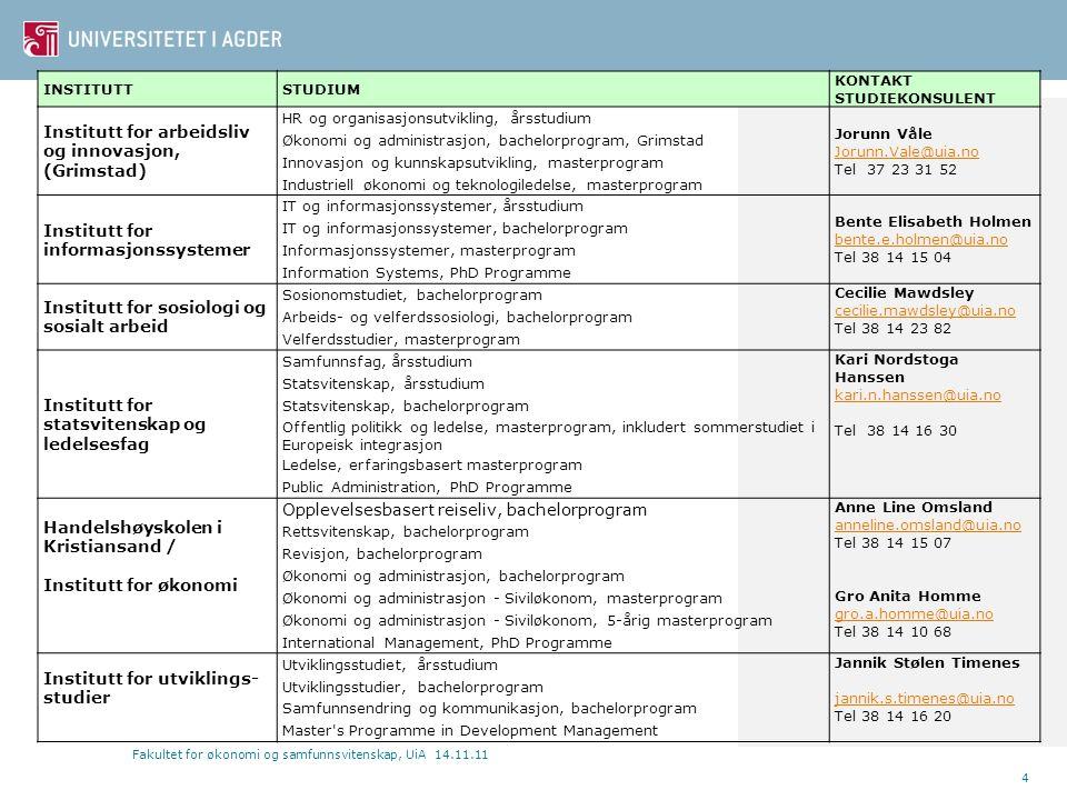 4 INSTITUTTSTUDIUM KONTAKT STUDIEKONSULENT Institutt for arbeidsliv og innovasjon, (Grimstad) HR og organisasjonsutvikling, årsstudium Jorunn Våle Jor
