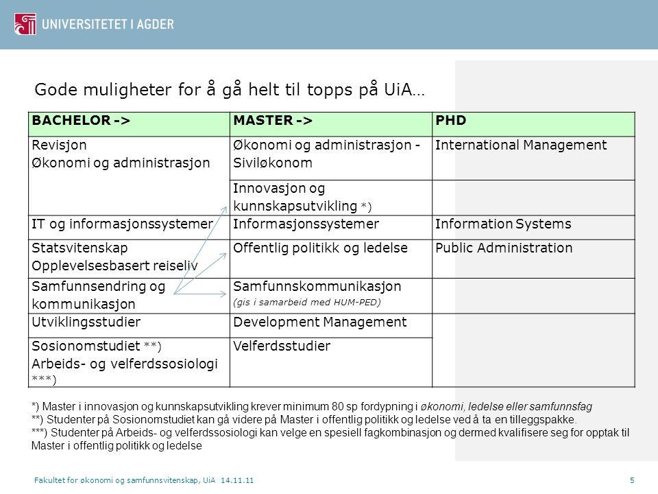 Fakultet for økonomi og samfunnsvitenskap, UiA 14.11.115 BACHELOR ->MASTER ->PHD Revisjon Økonomi og administrasjon Økonomi og administrasjon - Sivilø