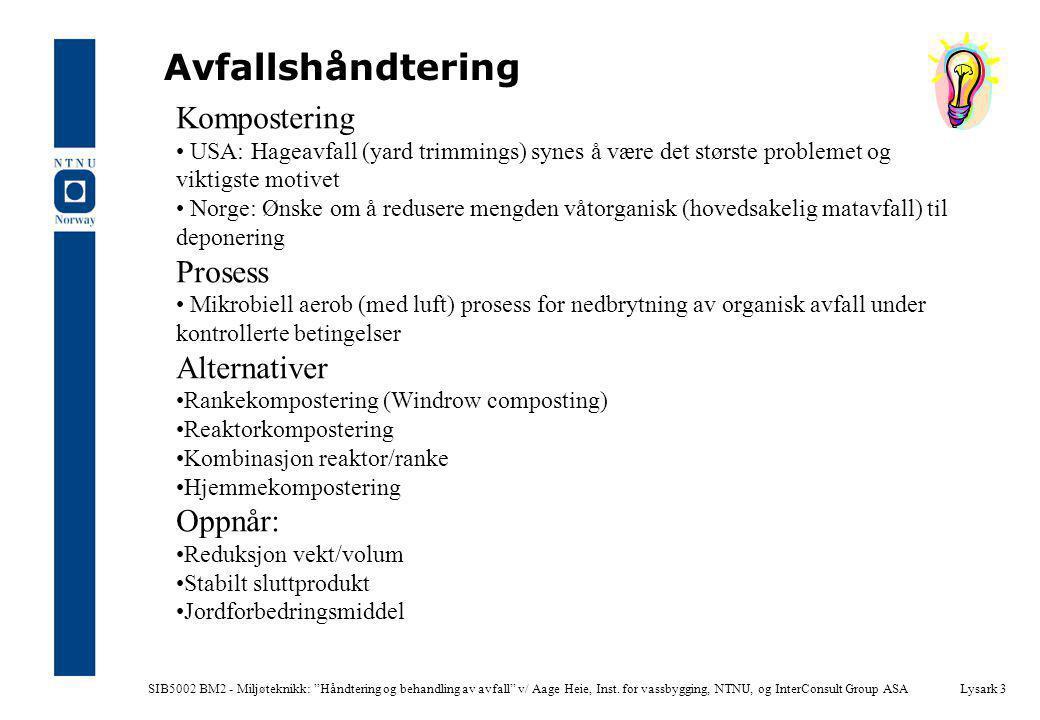 """SIB5002 BM2 - Miljøteknikk: """"Håndtering og behandling av avfall"""" v/ Aage Heie, Inst. for vassbygging, NTNU, og InterConsult Group ASALysark 3 Avfallsh"""