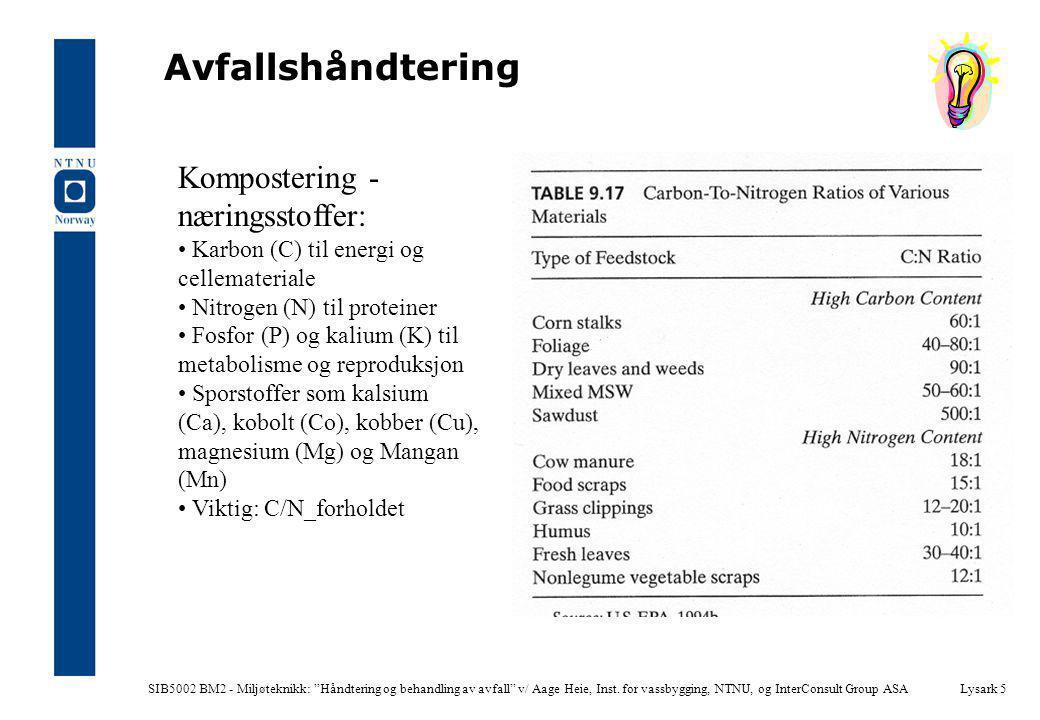 """SIB5002 BM2 - Miljøteknikk: """"Håndtering og behandling av avfall"""" v/ Aage Heie, Inst. for vassbygging, NTNU, og InterConsult Group ASALysark 5 Avfallsh"""