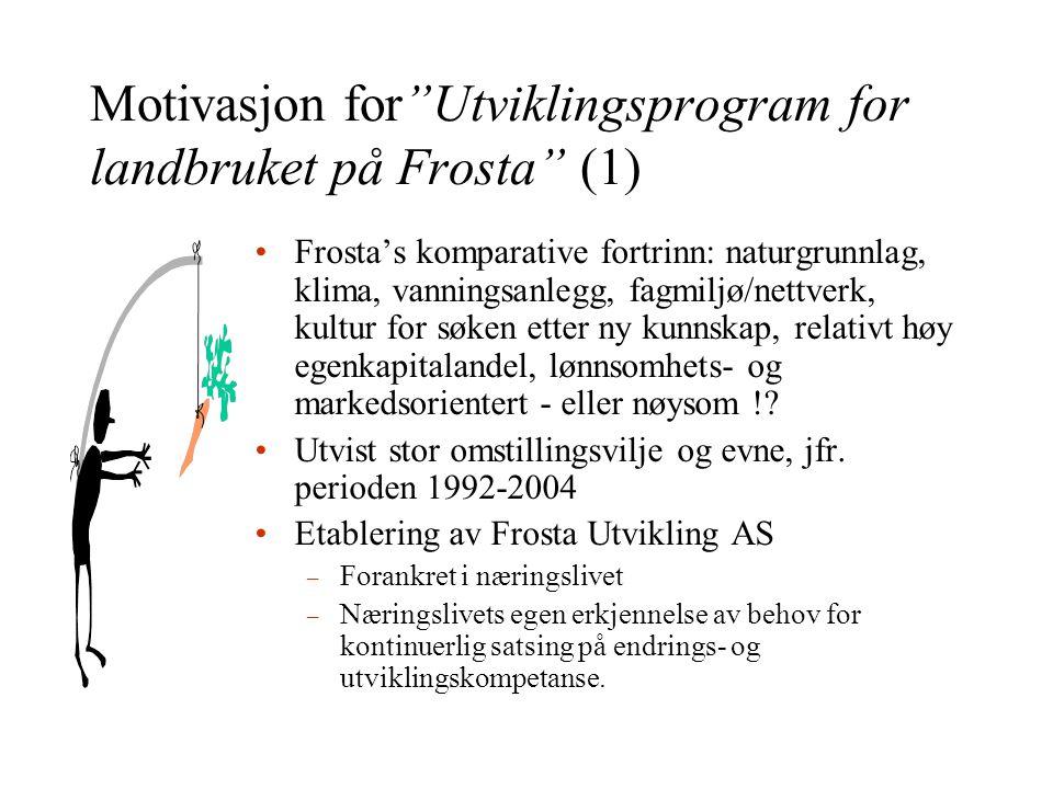 Motivasjon for Utviklingsprogram for landbruket på Frosta (1) •Frosta's komparative fortrinn: naturgrunnlag, klima, vanningsanlegg, fagmiljø/nettverk, kultur for søken etter ny kunnskap, relativt høy egenkapitalandel, lønnsomhets- og markedsorientert - eller nøysom !.