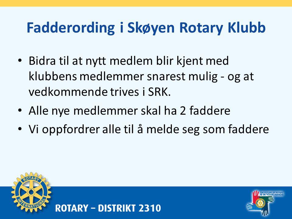 Fadderguide Skøyen Rotary Klubb • Faderens oppgaver starter etter opptak ved å følge opp medlemmets fremmøter, særlig ved ev.