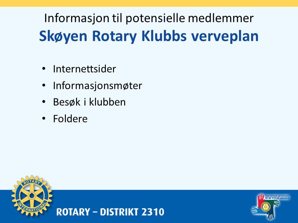 Fokus og prinsipper Skøyen Rotary Klubbs verveplan • Fokus – Hvis vi arbeider for å nå ovenfor stående mål trenger vi ikke å fokusere på å rekruttere fra spesielle målgrupper.