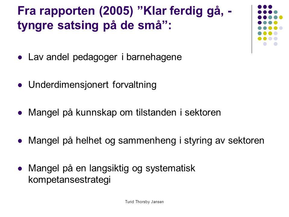Turid Thorsby Jansen Fra rapporten (2005) Klar ferdig gå, - tyngre satsing på de små :  Lav andel pedagoger i barnehagene  Underdimensjonert forvaltning  Mangel på kunnskap om tilstanden i sektoren  Mangel på helhet og sammenheng i styring av sektoren  Mangel på en langsiktig og systematisk kompetansestrategi