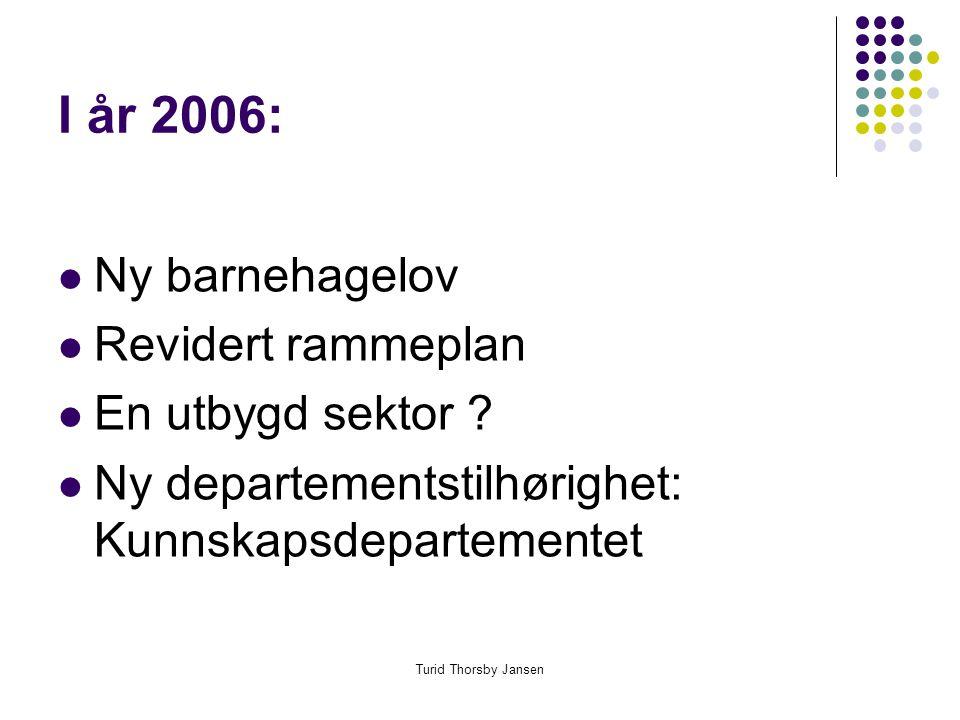 Turid Thorsby Jansen I år 2006:  Ny barnehagelov  Revidert rammeplan  En utbygd sektor .