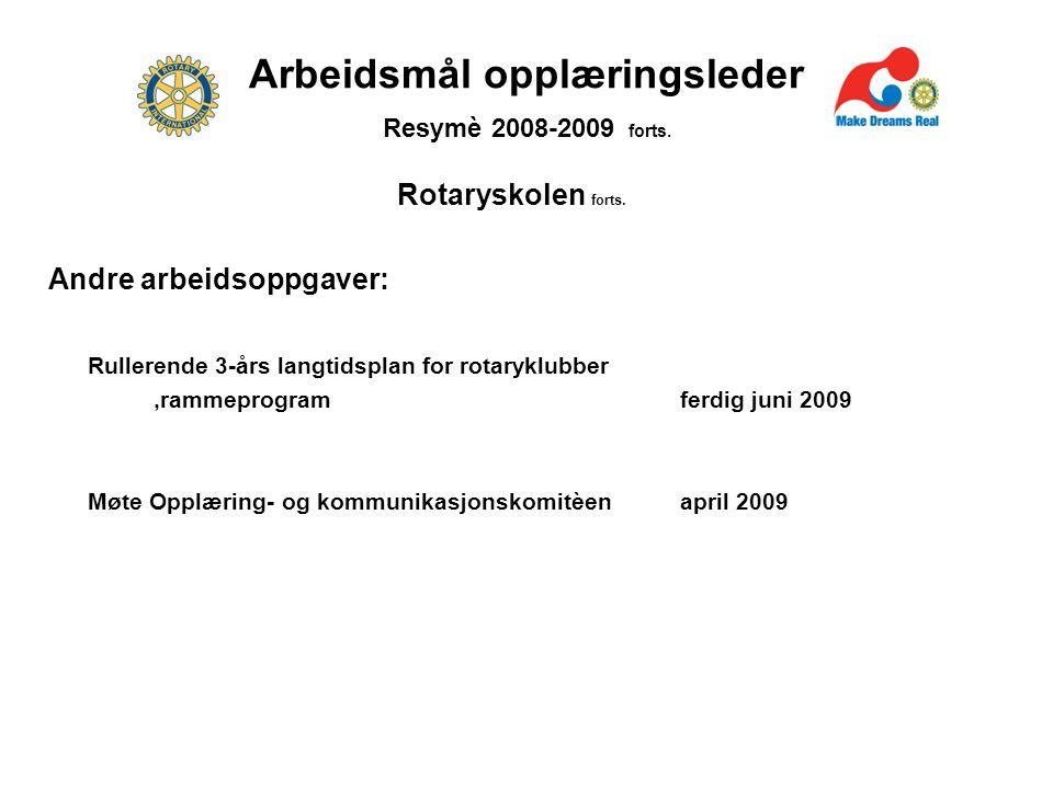 Arbeidsmål opplæringsleder Resymè 2008-2009 forts.