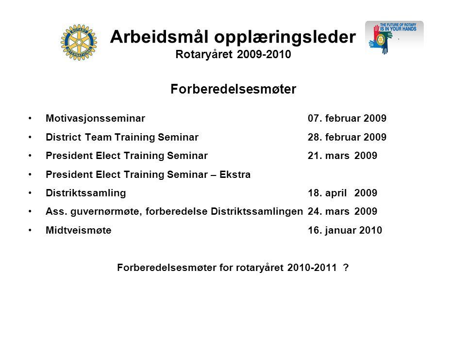 Arbeidsmål opplæringsleder Rotaryåret 2009-2010 Forberedelsesmøter •Motivasjonsseminar07.