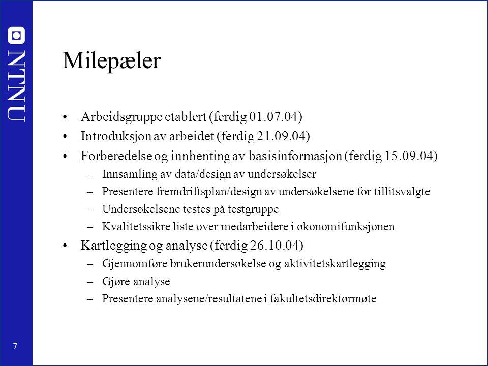 8 Fortsettelse milepæler •Kartlegging og analyse forts.