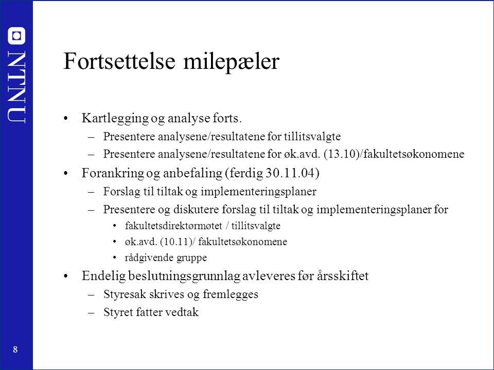 8 Fortsettelse milepæler •Kartlegging og analyse forts. –Presentere analysene/resultatene for tillitsvalgte –Presentere analysene/resultatene for øk.a