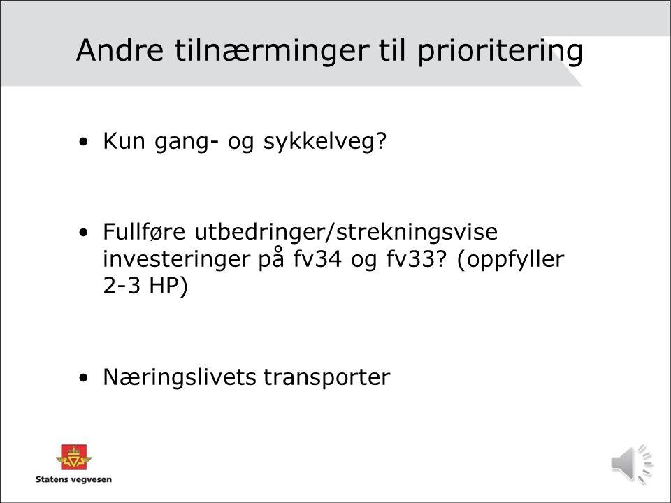 By eller land? •Satsing på prosjekt med lav ÅDT på landet til de få? eller • Prosjekter for byutvikling (ATP satsing) i Gjøvik og Lillehammer?