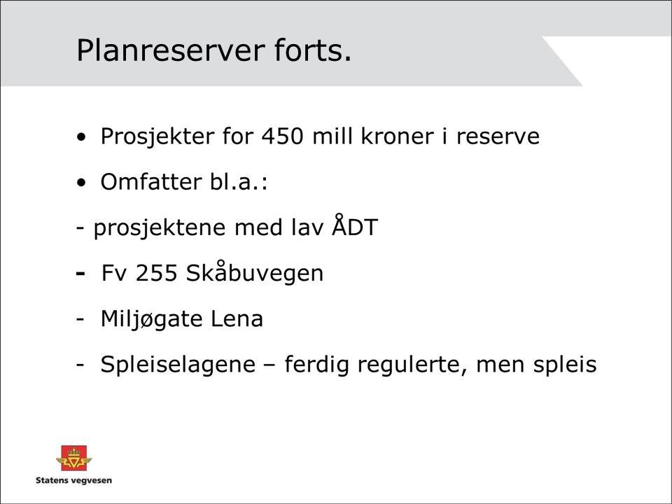 Store planreserver Fv 311 Fullføring av vegen Ersgård- Sjøsetervegen Lilleha mmer 9Noe usikker planreserve. Fv 132 Hornås- Haug GjøvikCa 17Lav ÅDT, jf