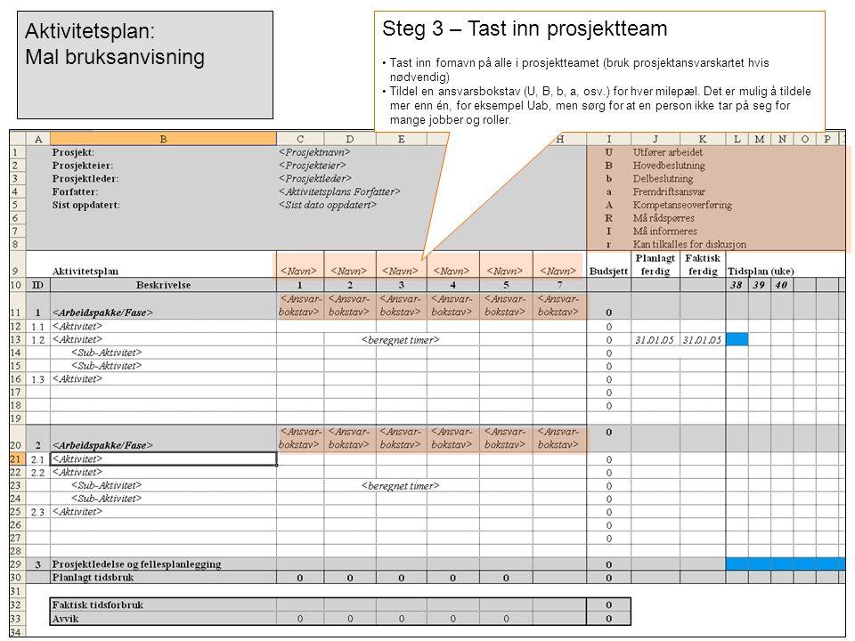 Steg 3 – Tast inn prosjektteam •Tast inn fornavn på alle i prosjektteamet (bruk prosjektansvarskartet hvis nødvendig) •Tildel en ansvarsbokstav (U, B,