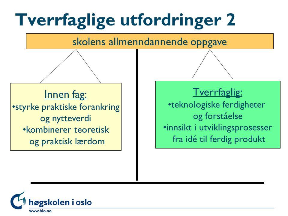 Tverrfaglige utfordringer 2 skolens allmenndannende oppgave Innen fag: •styrke praktiske forankring og nytteverdi •kombinerer teoretisk og praktisk læ