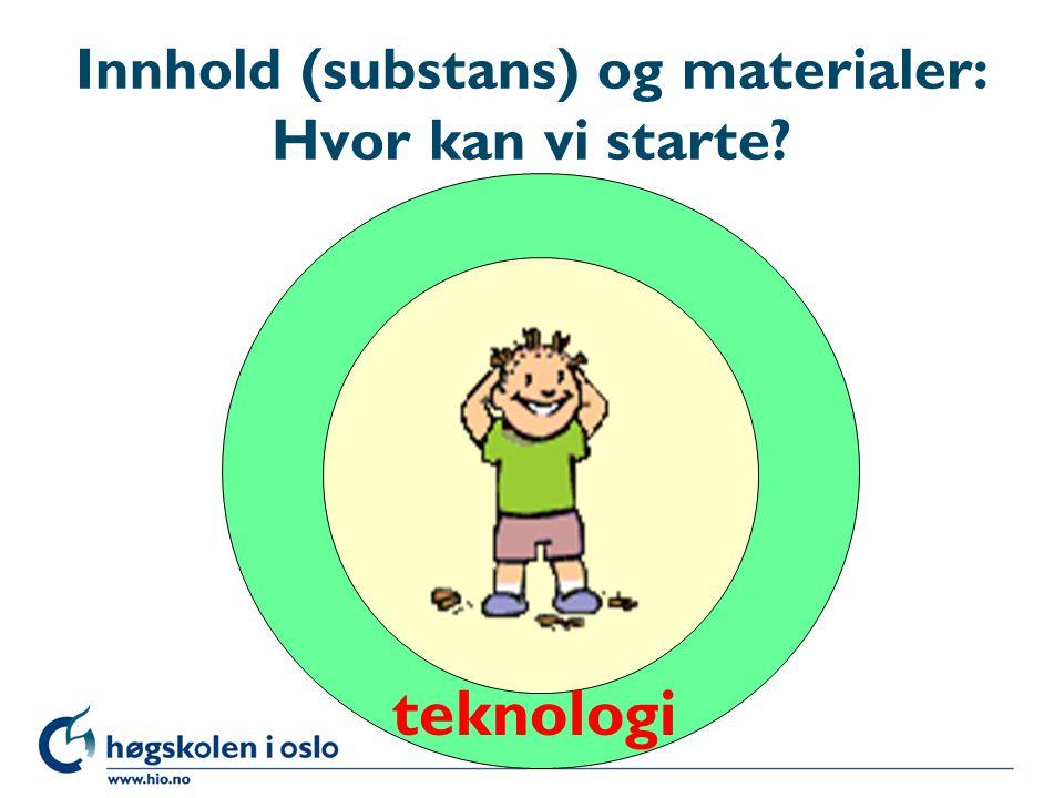 Innhold (substans) og materialer: Hvor kan vi starte? teknologi