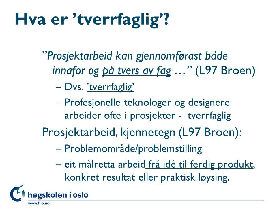 """Hva er 'tverrfaglig'? """"Prosjektarbeid kan gjennomførast både innafor og på tvers av fag …"""" (L97 Broen) –Dvs. 'tverrfaglig' –Profesjonelle teknologer o"""