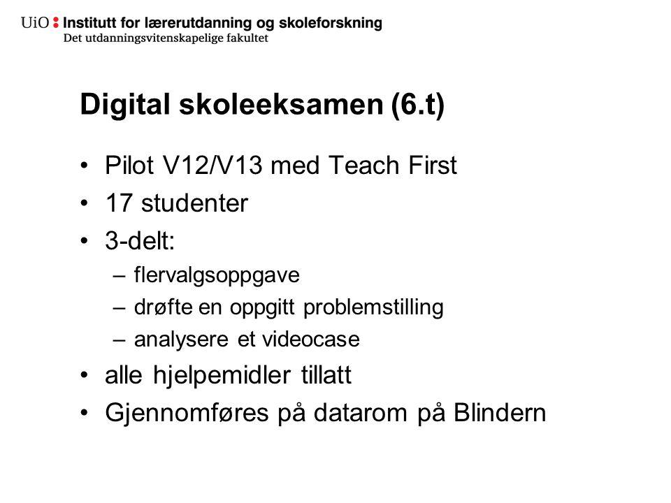 20 Digital skoleeksamen (6.t) •Pilot V12/V13 med Teach First •17 studenter •3-delt: –flervalgsoppgave –drøfte en oppgitt problemstilling –analysere et