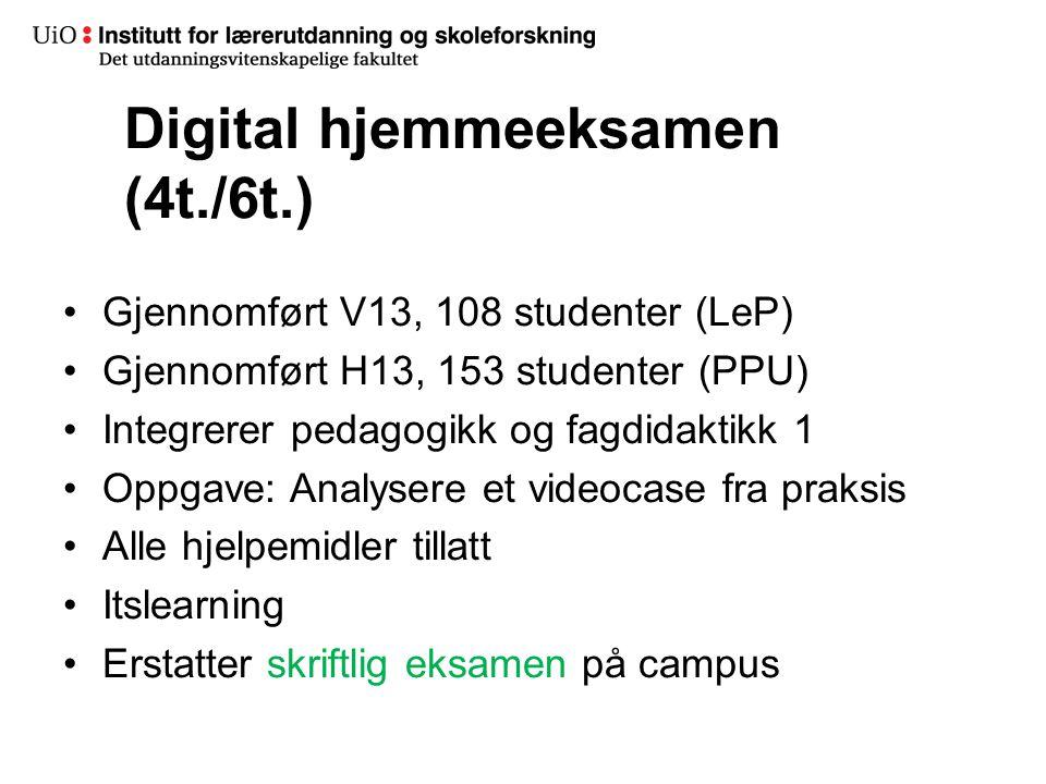 23 Digital hjemmeeksamen (4t./6t.) •Gjennomført V13, 108 studenter (LeP) •Gjennomført H13, 153 studenter (PPU) •Integrerer pedagogikk og fagdidaktikk