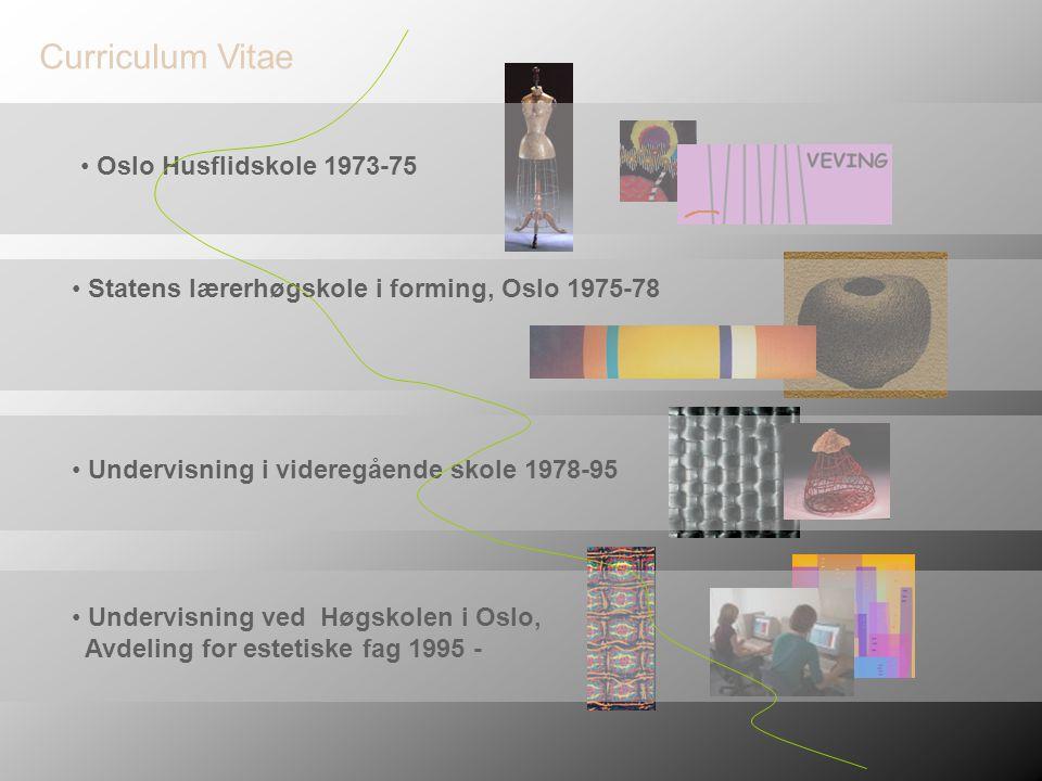 • Statens lærerhøgskole i forming, Oslo 1975-78 • Oslo Husflidskole 1973-75 • Undervisning i videregående skole 1978-95 • Undervisning ved Høgskolen i Oslo, Avdeling for estetiske fag 1995 - Curriculum Vitae