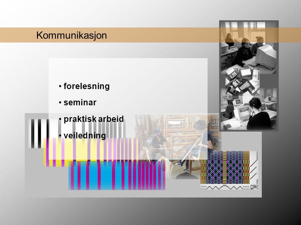 Kommunikasjon • forelesning • seminar • praktisk arbeid • veiledning