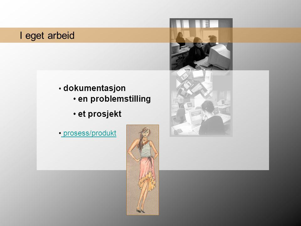 I eget arbeid • en problemstilling • et prosjekt • prosess/produkt prosess/produkt • dokumentasjon