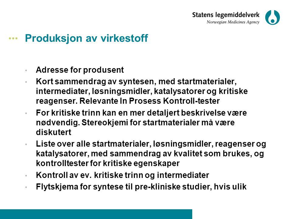 Produksjon av virkestoff • Adresse for produsent • Kort sammendrag av syntesen, med startmaterialer, intermediater, løsningsmidler, katalysatorer og k