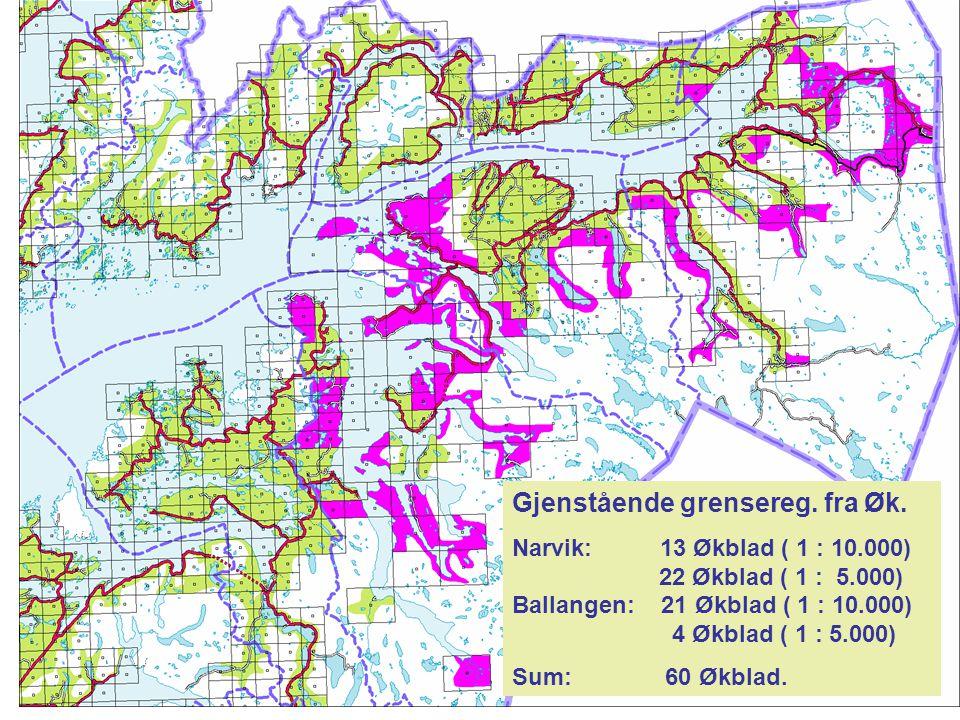 Gjenstående grensereg. fra Øk. Narvik: 13 Økblad ( 1 : 10.000) 22 Økblad ( 1 : 5.000) Ballangen: 21 Økblad ( 1 : 10.000) 4 Økblad ( 1 : 5.000) Sum: 60