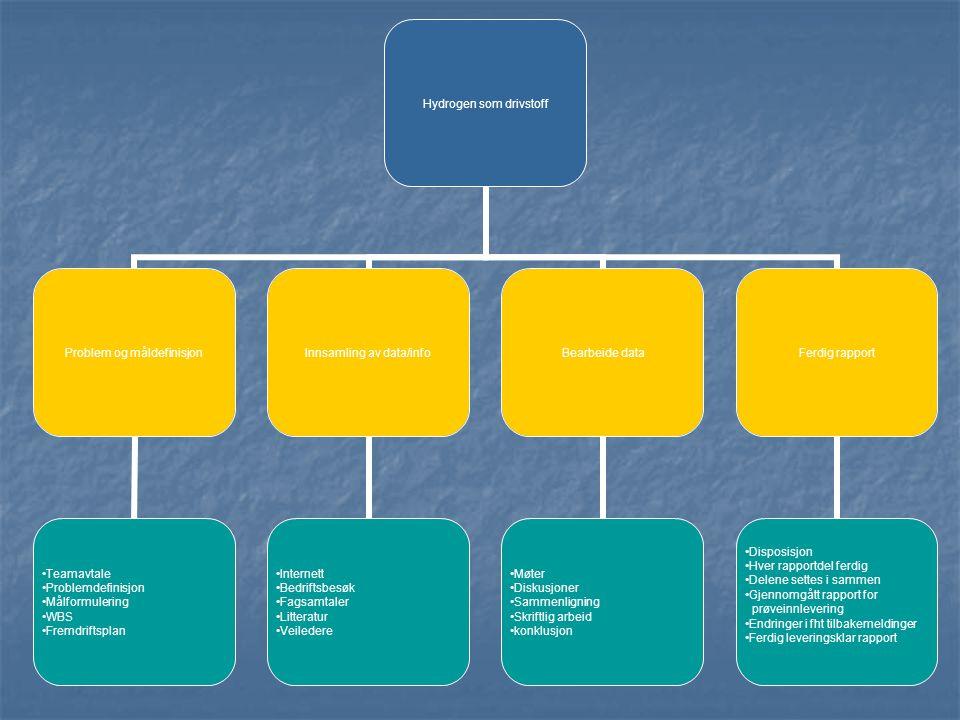 Hydrogen som drivstoff Problem og måldefinisjon •Teamavtale •Problemdefinisjon •Målformulering •WBS •Fremdriftsplan Innsamling av data/info •Internett