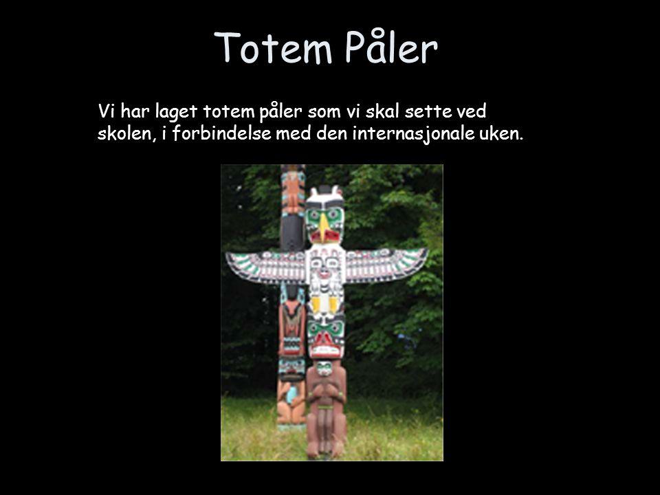 Totem Påler Vi har laget totem påler som vi skal sette ved skolen, i forbindelse med den internasjonale uken.
