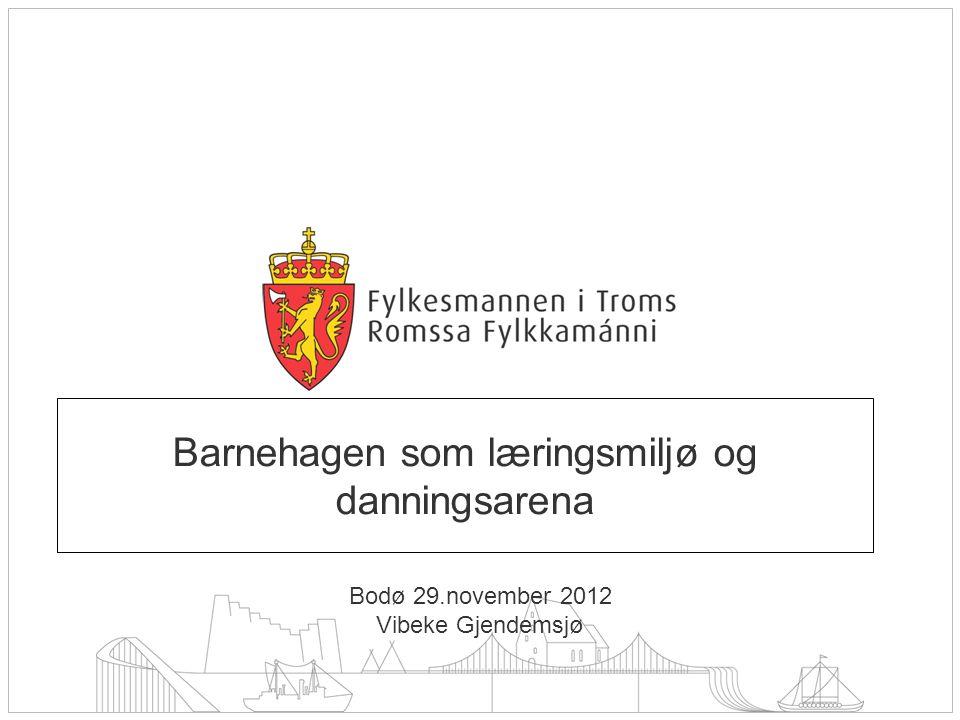 Barnehagen som læringsmiljø og danningsarena Bodø 29.november 2012 Vibeke Gjendemsjø