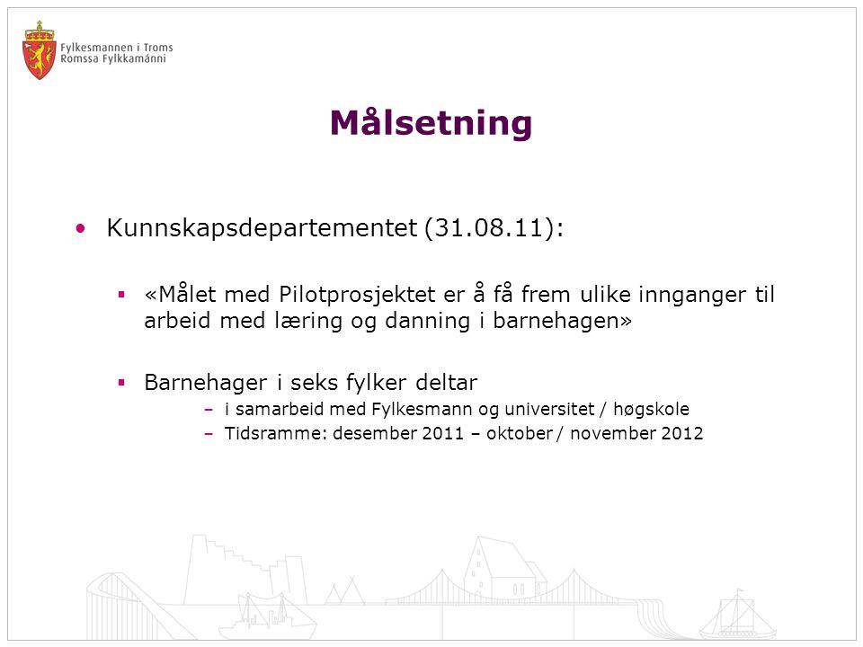 Målsetning •Kunnskapsdepartementet (31.08.11):  «Målet med Pilotprosjektet er å få frem ulike innganger til arbeid med læring og danning i barnehagen