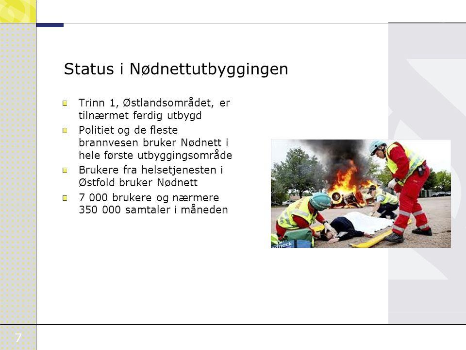 7 Status i Nødnettutbyggingen Trinn 1, Østlandsområdet, er tilnærmet ferdig utbygd Politiet og de fleste brannvesen bruker Nødnett i hele første utbyggingsområde Brukere fra helsetjenesten i Østfold bruker Nødnett 7 000 brukere og nærmere 350 000 samtaler i måneden