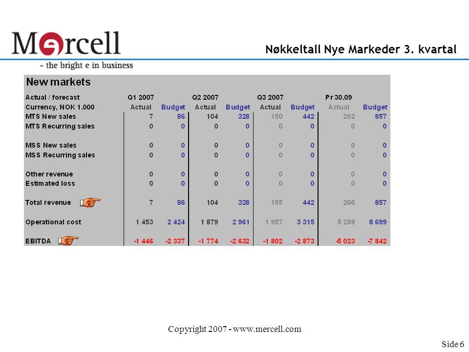 Copyright 2007 - www.mercell.com Nøkkeltall Nye Markeder 3. kvartal Side 6