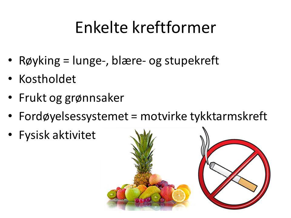 Enkelte kreftformer • Røyking = lunge-, blære- og stupekreft • Kostholdet • Frukt og grønnsaker • Fordøyelsessystemet = motvirke tykktarmskreft • Fysi