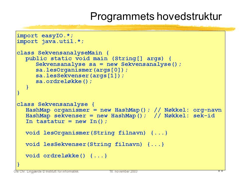 Ole Chr. Lingjærde © Institutt for informatikk18. november 2003 11 Programmets hovedstruktur import easyIO.*; import java.util.*; class Sekvensanalyse
