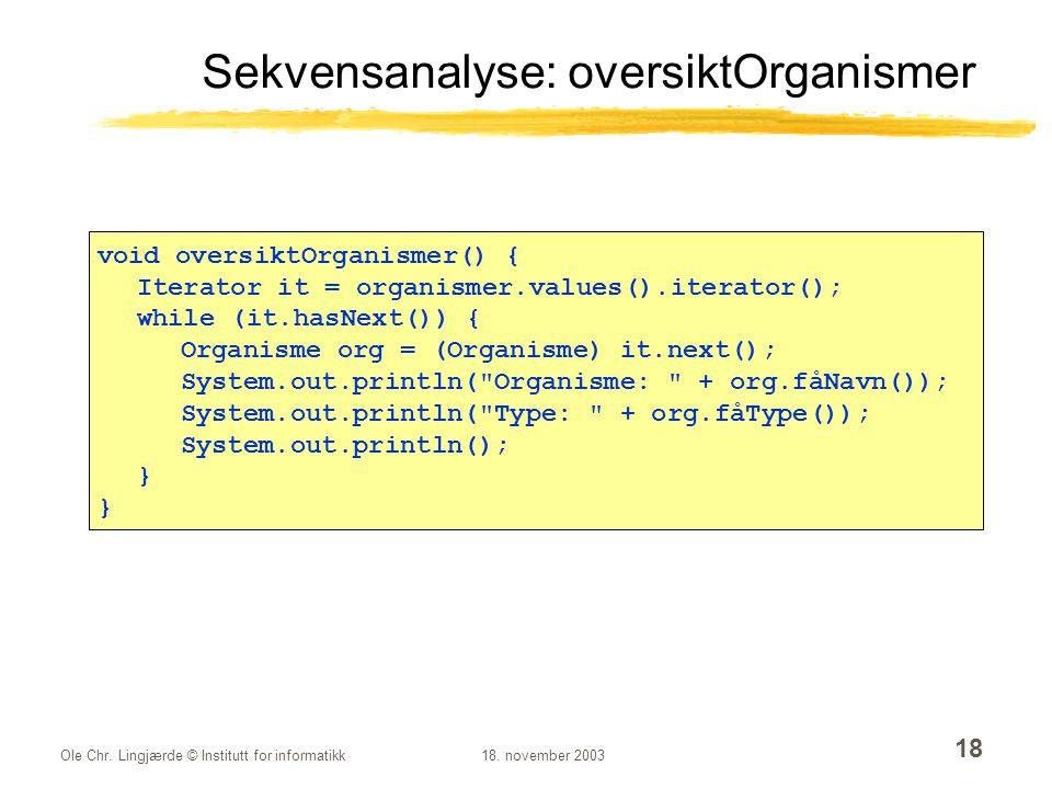 Ole Chr. Lingjærde © Institutt for informatikk18. november 2003 18 Sekvensanalyse: oversiktOrganismer void oversiktOrganismer() { Iterator it = organi