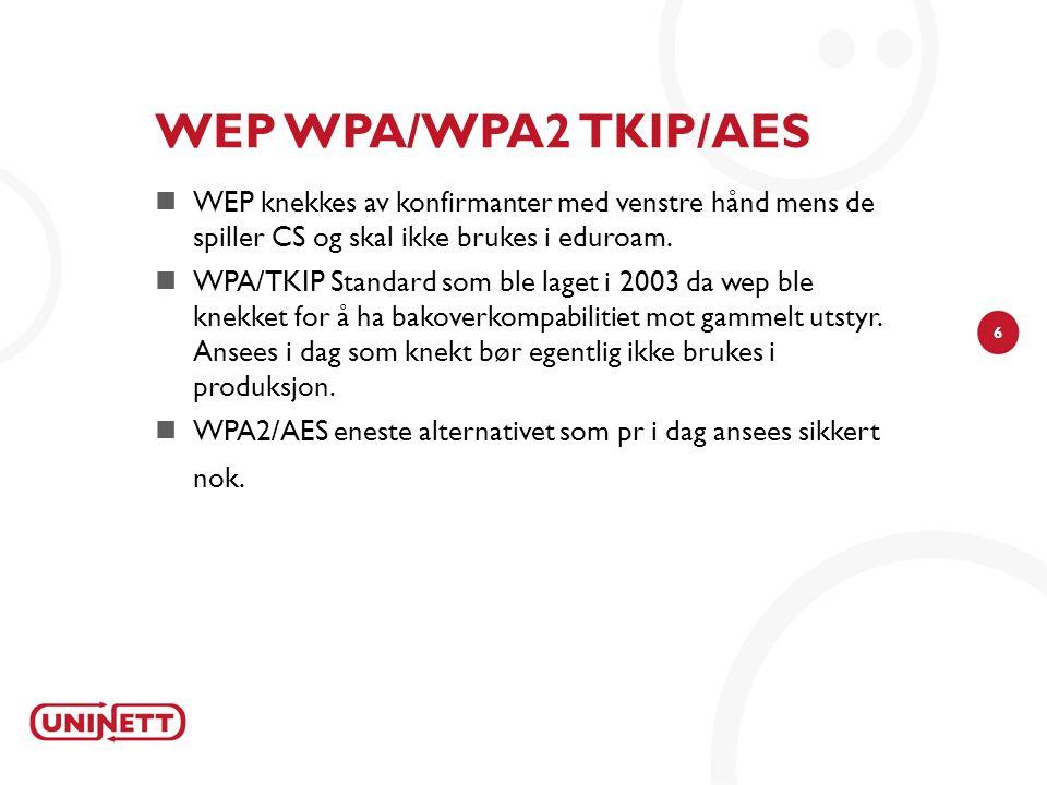 6 WEP WPA/WPA2 TKIP/AES  WEP knekkes av konfirmanter med venstre hånd mens de spiller CS og skal ikke brukes i eduroam.