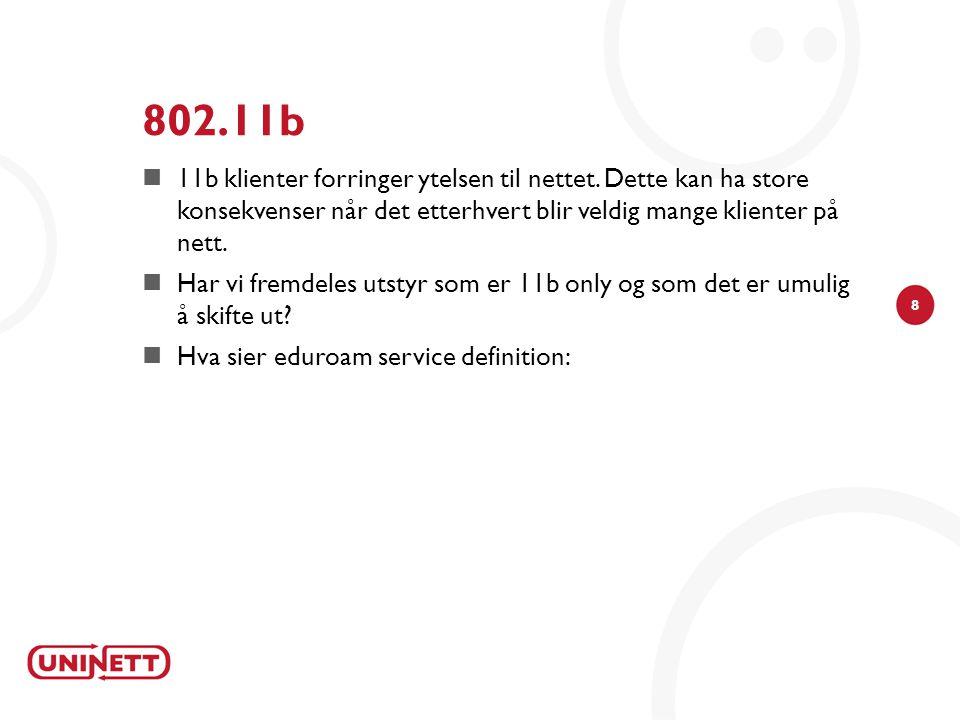 8 802.11b  11b klienter forringer ytelsen til nettet.