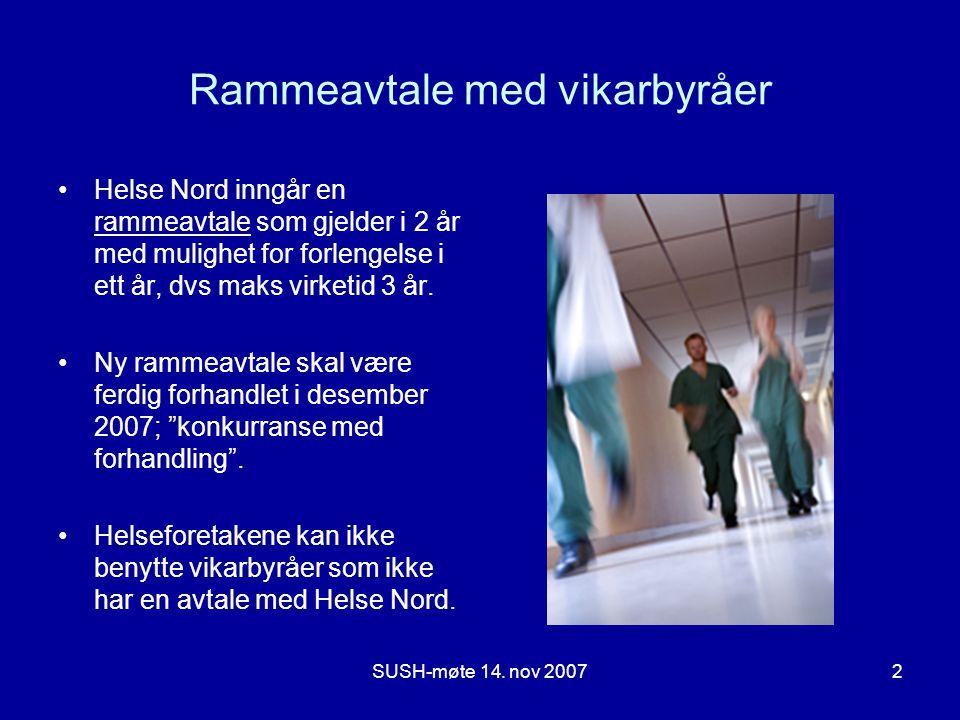 SUSH-møte 14. nov 20072 Rammeavtale med vikarbyråer •Helse Nord inngår en rammeavtale som gjelder i 2 år med mulighet for forlengelse i ett år, dvs ma