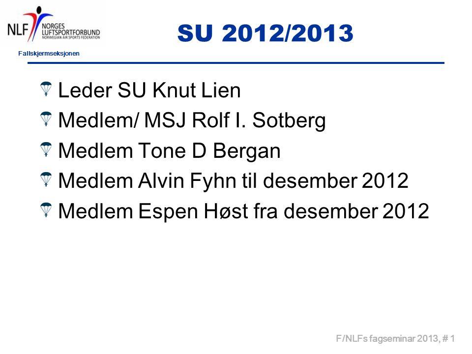 Fallskjermseksjonen F/NLFs fagseminar 2013, # 1 SU 2012/2013 Leder SU Knut Lien Medlem/ MSJ Rolf I. Sotberg Medlem Tone D Bergan Medlem Alvin Fyhn til