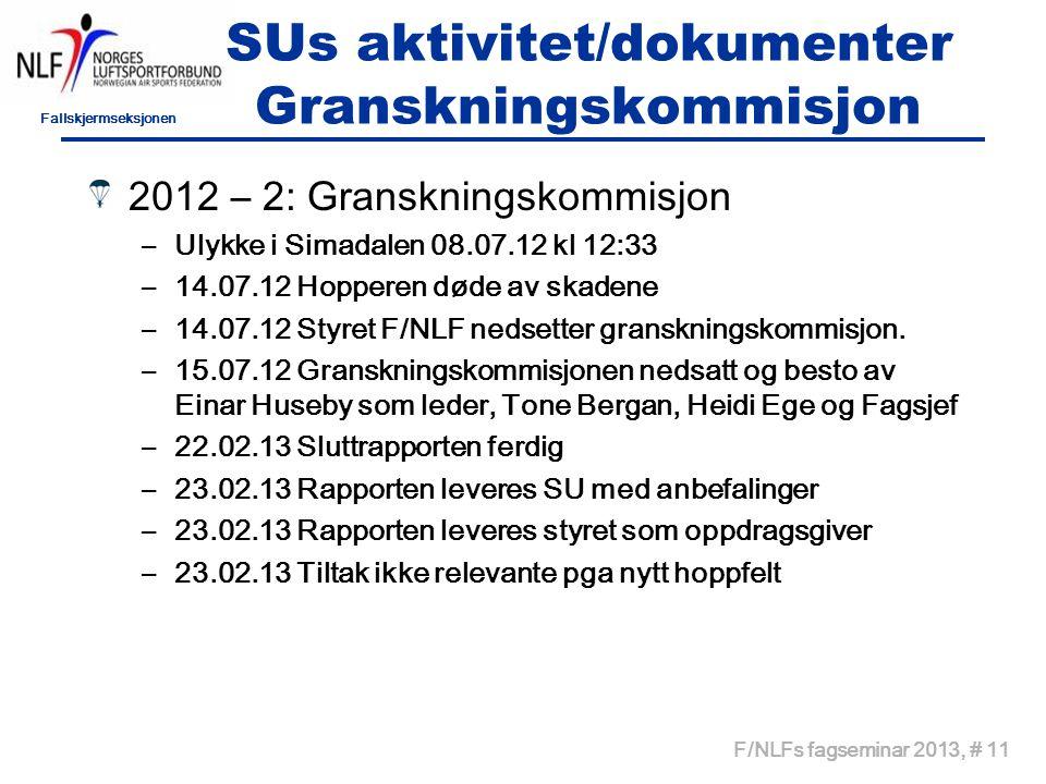 Fallskjermseksjonen F/NLFs fagseminar 2013, # 11 SUs aktivitet/dokumenter Granskningskommisjon 2012 – 2: Granskningskommisjon –Ulykke i Simadalen 08.0