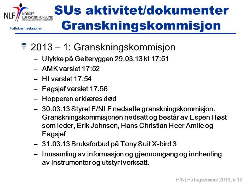 Fallskjermseksjonen F/NLFs fagseminar 2013, # 12 SUs aktivitet/dokumenter Granskningskommisjon 2013 – 1: Granskningskommisjon –Ulykke på Geiteryggen 2