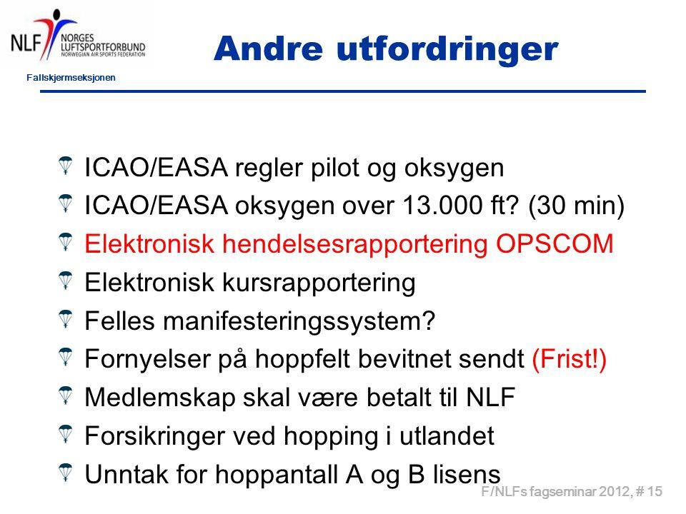 Fallskjermseksjonen F/NLFs fagseminar 2012, # 15 Andre utfordringer ICAO/EASA regler pilot og oksygen ICAO/EASA oksygen over 13.000 ft? (30 min) Elekt