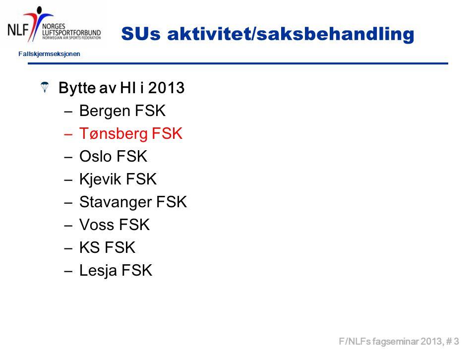 Fallskjermseksjonen F/NLFs fagseminar 2013, # 14 Sentrale kurs 2013 Kurs 2013 –MK kurs - 4 deltagere (10) –Tandemkurs – 7 deltagere, (5) –AFF - kurs – 6 deltagere, (5) –I2-kurs – 16 deltagere, (19) –I1-kurs – 8 deltagere, (?)